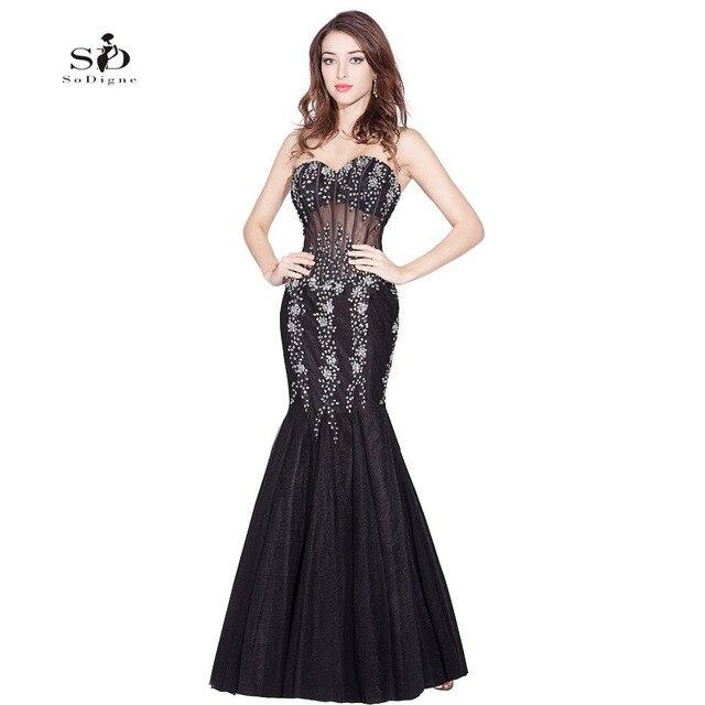 Dress Gala Black Crystals Prom Dresses Mermaid Sexy Prom Gowns 2018 Lace  Appliques Vestido Formatura Longo 2018 Sweetheart cbaf7848df4e