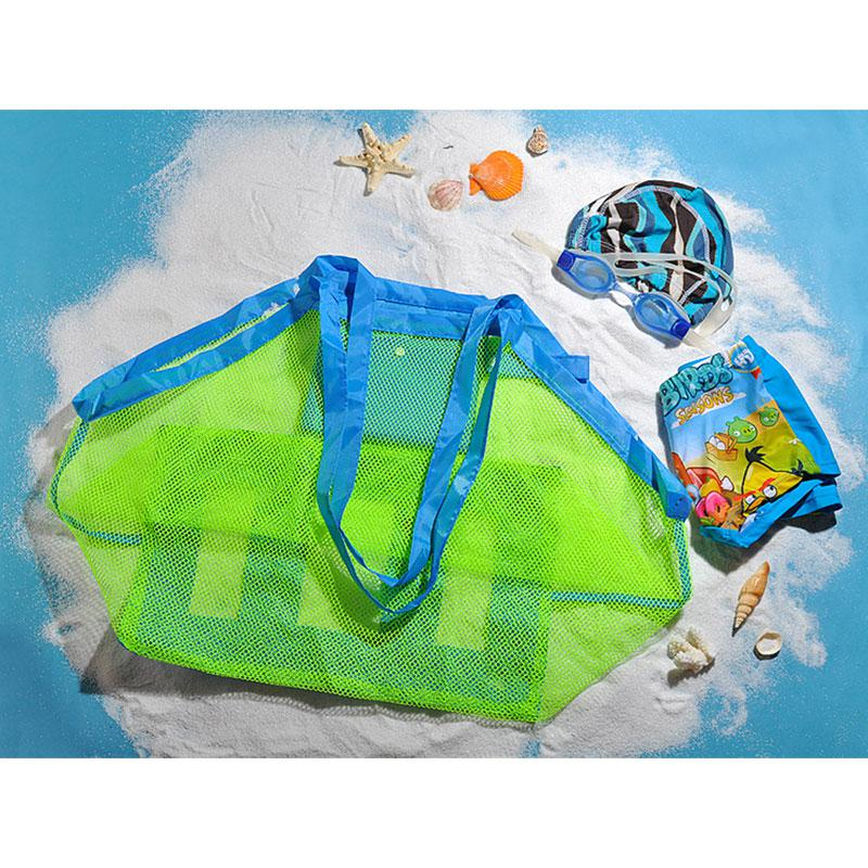 Large Mesh Beach Bag Kids Beach Toys Portable Organizer Bag Tote Backpack Beach Cars Sand Toys Baskets Storage Foldable Bags