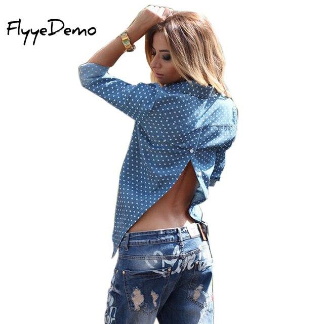 2019 Горячая осень стиль с длинным рукавом для женщин джинсы для рубашка повседневное тонкие топы, блузы модная одежда пикантные Клубные Джинс