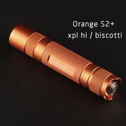 Orange S2 + taschenlampe, mit XPL HALLO led innen und ar-beschichtete glas, biscotti firmware