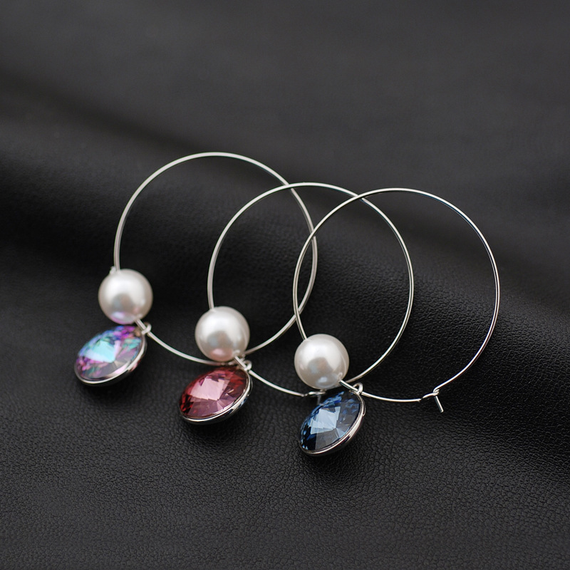 WKOUD EAM Jewelry / 2019 New Fashion Temperament 925 Silver All match Colorful Crystal Hoop Earring Women's Accessories S#R155