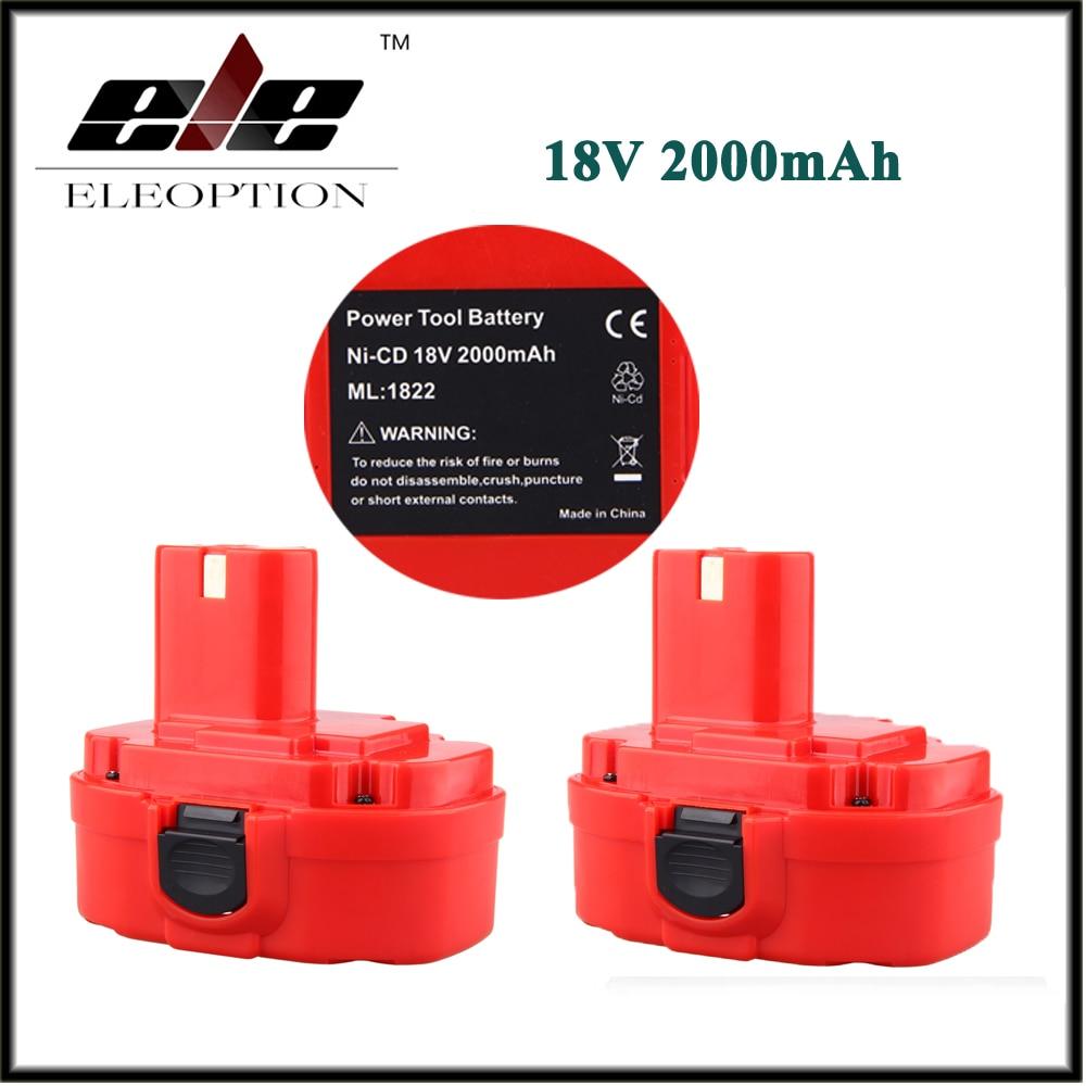 2 PCS ELEOPTION 18V 2.0AH 2000mAh Ni CD Rechargeable Power Tool Battery for MAKITA 1822 192826 5 192827 3 PA18 18 Volt|Replacement Batteries| |  - title=