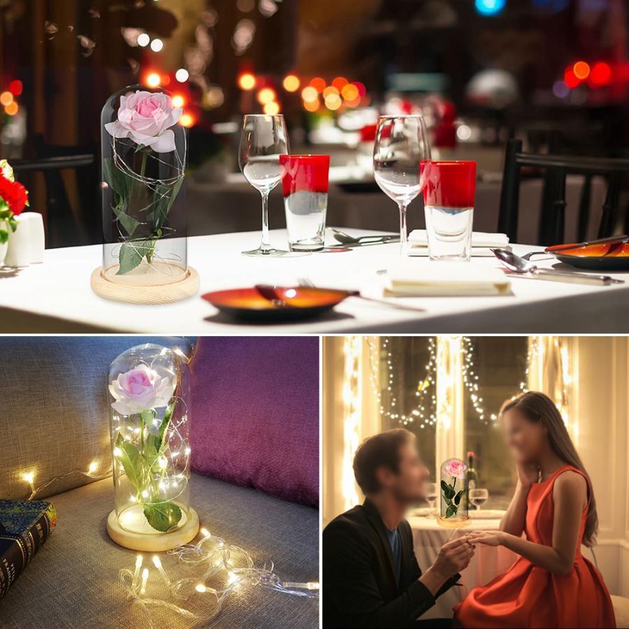 Rose Flower LED Lamp Night Light Romantic Wedding Birthday Party Home LED Lamp Decoration vasos sanitários coloridos