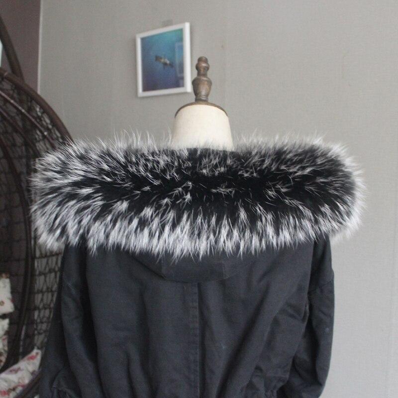 Зимняя куртка из натурального меха, воротник из натурального меха енота, женские шарфы, пальто, женская шапка, длинный теплый шарф из натурального меха, большой размер - Цвет: White tip