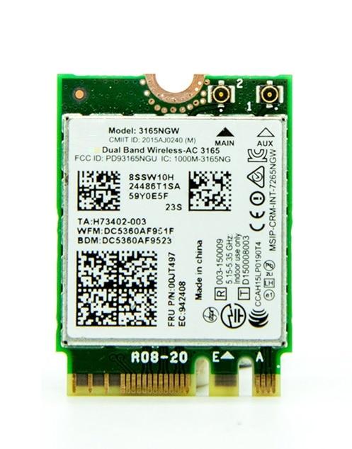 SSEA novo para Intel Wireless-AC 3165 3165NGW 802.11AC WIFI Bluetooth 4.0 cartão para IBM Lenovo Thinkpad NGFF E460 E560 FRU 00JT497
