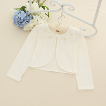 LARGE 2015 New Baby Girls Cotton Cardigan Fashion Long Sleeve Shawl Coat with Flowers Collar Children Wedding Party Clothes