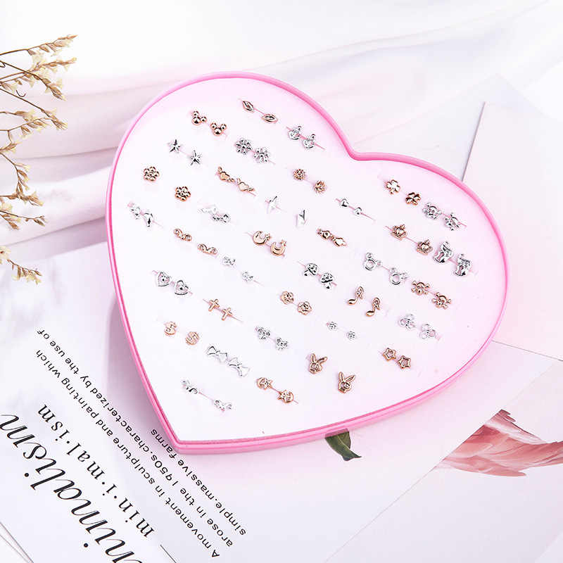 אופנה 36 זוגות\סט גיאומטרי קריסטל לב Stud עגילים לנשים בנות חמוד פירסינג פרח עגילי סט עם תיבת תכשיטים
