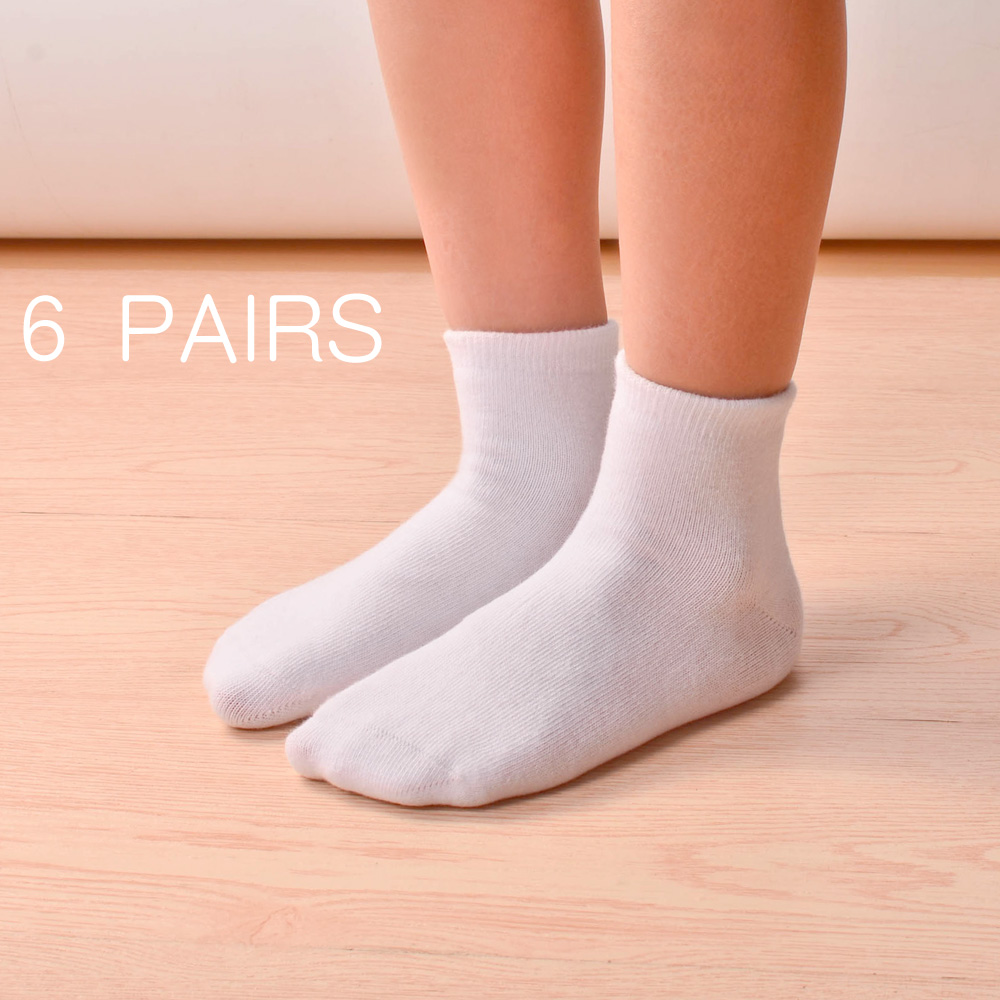 6pairs/lot Children Boys Girls Cotton Above Ankle Sport Socks Soft Sweat  Plain Stitch Athletic Socks Spring Autumn Winter White Color : Black 6  pairs, Size : S 2 3years 15 17cm Sportswear