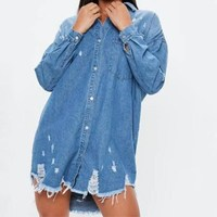 Women Denim Shirts With Pockets Jeans Shirt Spring Ladies Long Sleeve Blue Tops Vintage Female Holes Button Denim Blouse