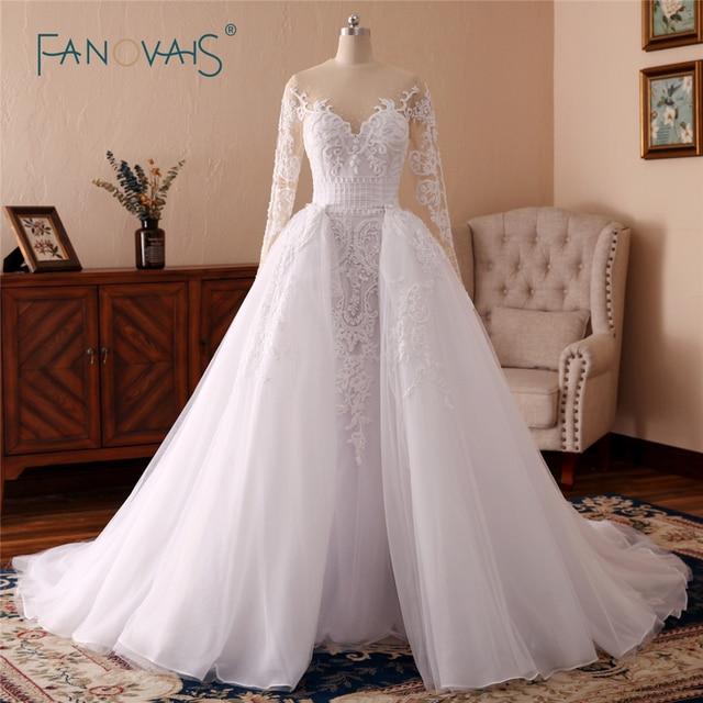 2018 Mermaid Wedding Dresses Long Sleeve Full Beaded Lace Wedding ...