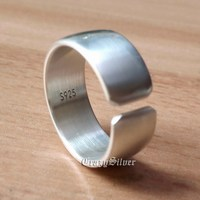925 Sterling Silver Open Size Simple Ring 3 Width Mens Biker Ring 9Y009A US 5 16