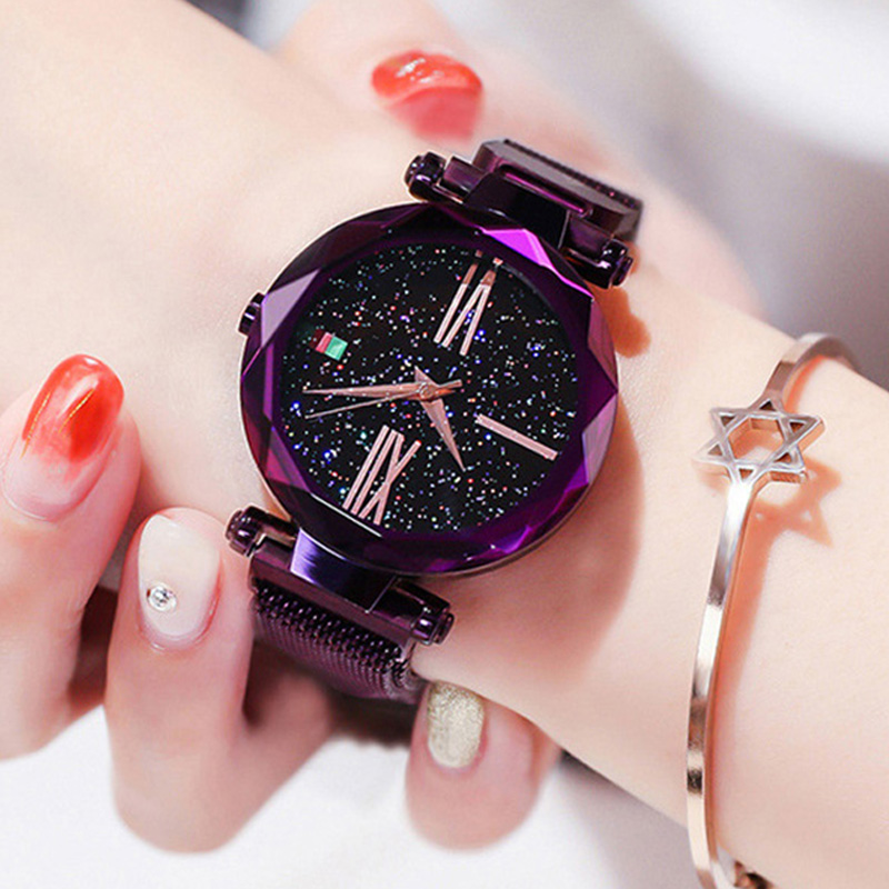 Luxury Rose Gold Women Watches Minimalism Starry Sky Magnetic Fashion Casual Female Wristwatch Waterproof Roman Numeral for Gift 2
