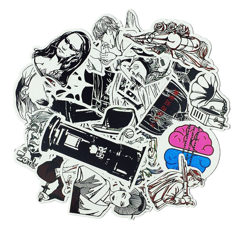 50PCS Halloween Zombie Marvel Black and White Street Graffiti Suitcase Skateboard Guitar Car Motorcycle Sticker in Stickers from Toys Hobbies