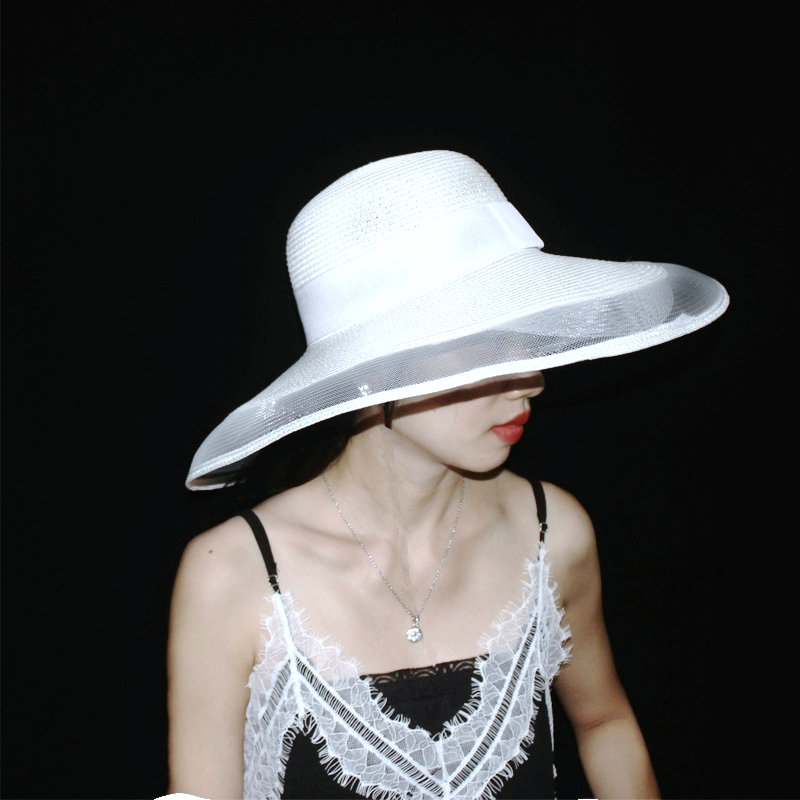 039e2e9b6dc Detail Feedback Questions about  La MaxPa  Summer White Black fashion straw hat  woman Retro Net Yarn wide brim straw hat Foldable beach sun hats for women  ...