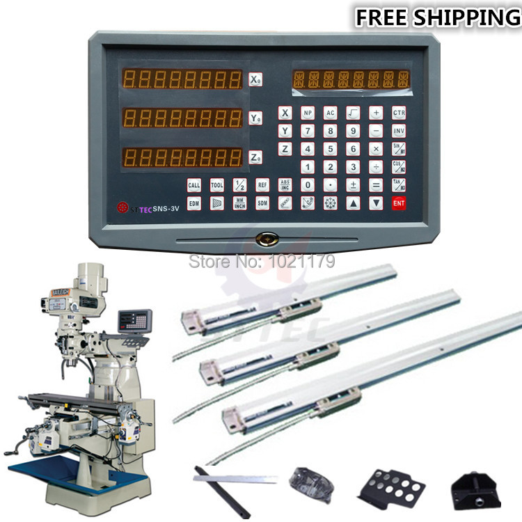 free shipping complete set milling/ lathe/ drill machine dro digital readout with 3 pcs linear scales