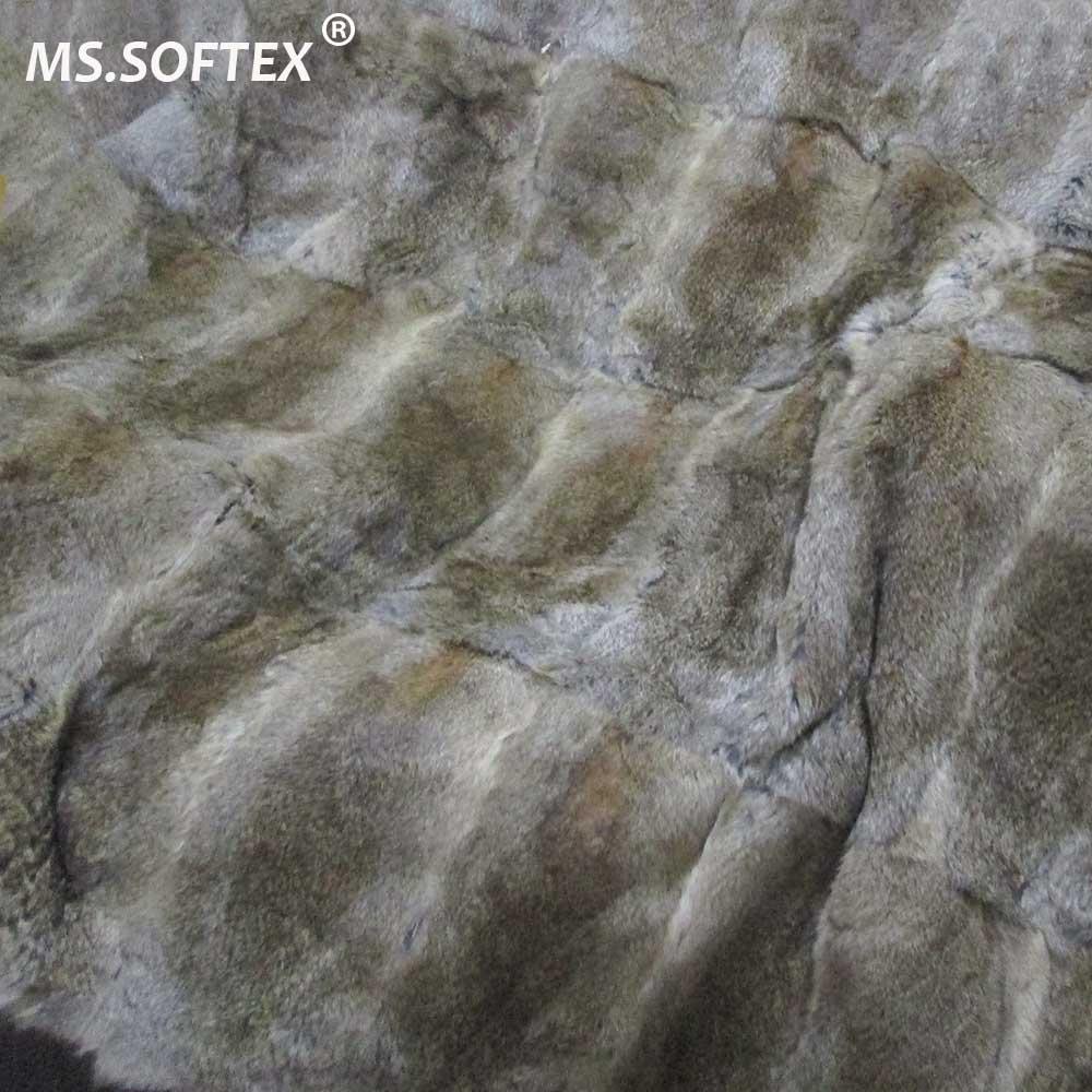 MS. Softex couverture de fourrure de lapin naturel chambre vraie fourrure de lapin jeter usine OEM couverture de fourrure de luxe jeter couverture de fourrure en peluche