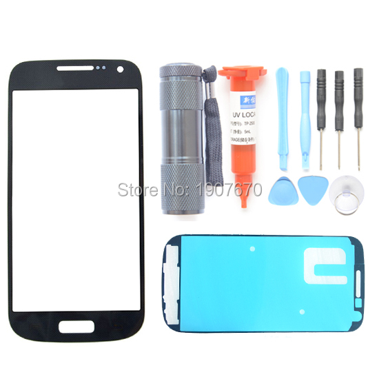 Free Shipping For Samsung Galaxy S4 Mini i9190 i9195 i9192 Black Front Outer Screen Glass Lens UV LOCA Glue & UV Light &Tools