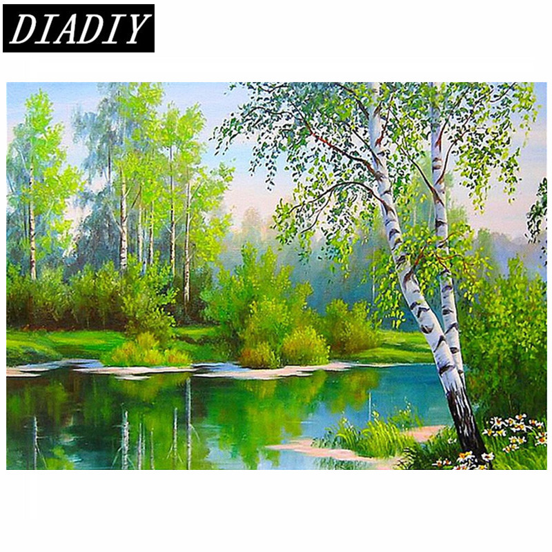 New Full Round Diamond 5D DIY Diamond Painting Forest river Embroidery Cross Stitch Rhinestone Mosaic Painting Decor Gift