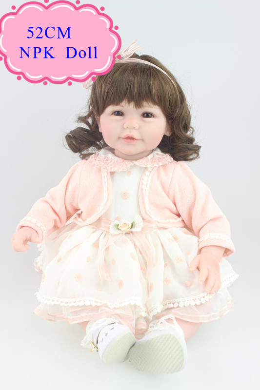 Gift Package 52 cm 20'' Baby Doll Toys For Girl With Short Curl Hair High Quality Reborn Toddler Dolls Hot Welcome New Year Gift short curl hair lifelike reborn toddler dolls with 20inch baby doll clothes hot welcome lifelike baby dolls for children as gift