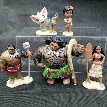 6 шт. полный набор 4-10 см Моана принцесса ПВХ Фигурки игрушки Мауи малыш Моана украшение торт подарок игрушки Кукла Детская подарки