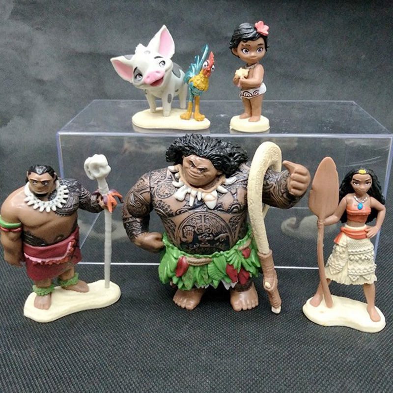 6Pcs Full Set 4-10cm Moana Princess PVC Action Figures Toys Maui Toddler Moana Decoration Cake Gift Toys Doll For Kid Gifts