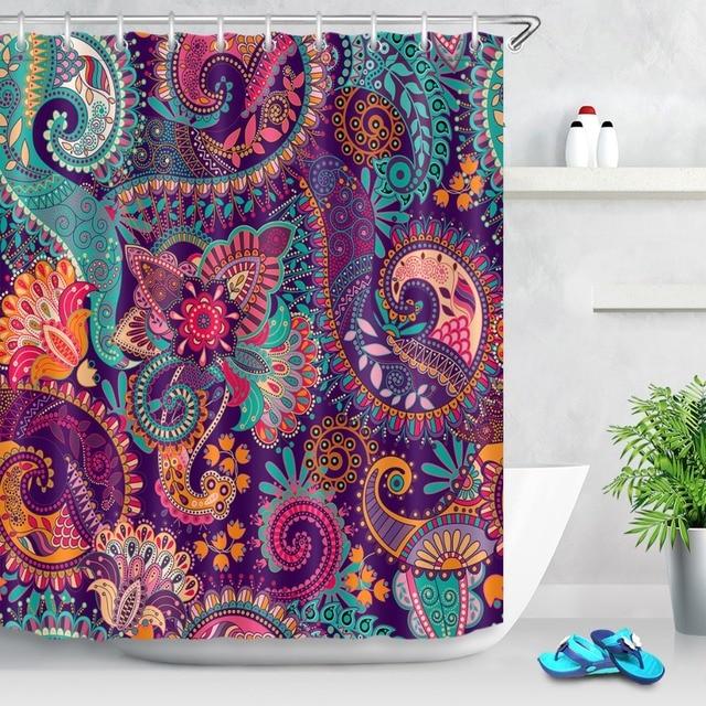 ההודי מנדלה פרחוני מקלחת וילונות פרח פריחת פייזלי בוהמי אמבטיה וילון עמיד למים בד עבור אמנות אמבטיה דקור