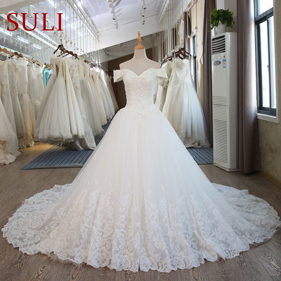 SL-100 Real Pictures White Ball Gown Bridal Dress mariage Vintage Muslim Plus Size Lace Wedding Dress 2020 Princess with Sleeve(China)