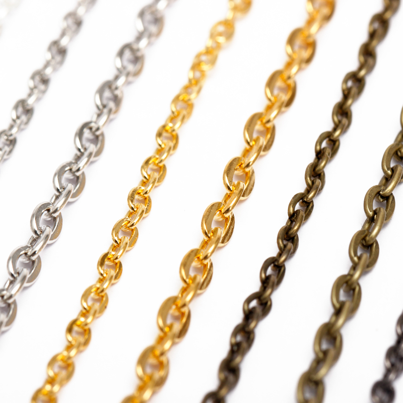 5m/lot 2.5/3.5/4.5mm Necklace Chains  Rhodium/Silver/KC Gold/Gunblack/Antique Bronze Color Flat Chain For DIY Jewelry Making