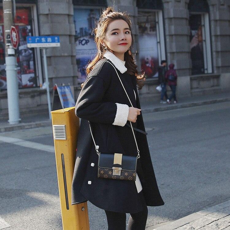 Mujer Bolsillos Cubierto De Slim Chaqueta Lana 2018 Abrigo Botón Invierno Sólido Largo Negro Collar Casual Cachemira tHqw8fxgn