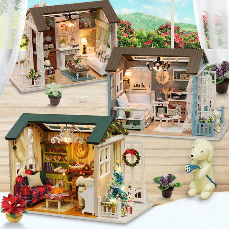 Doll House DIY Miniature Dollhouse Model Wooden Toy Furnitures Casa De Boneca Dolls Houses Toys For Childred Birthday Gift Z007 image