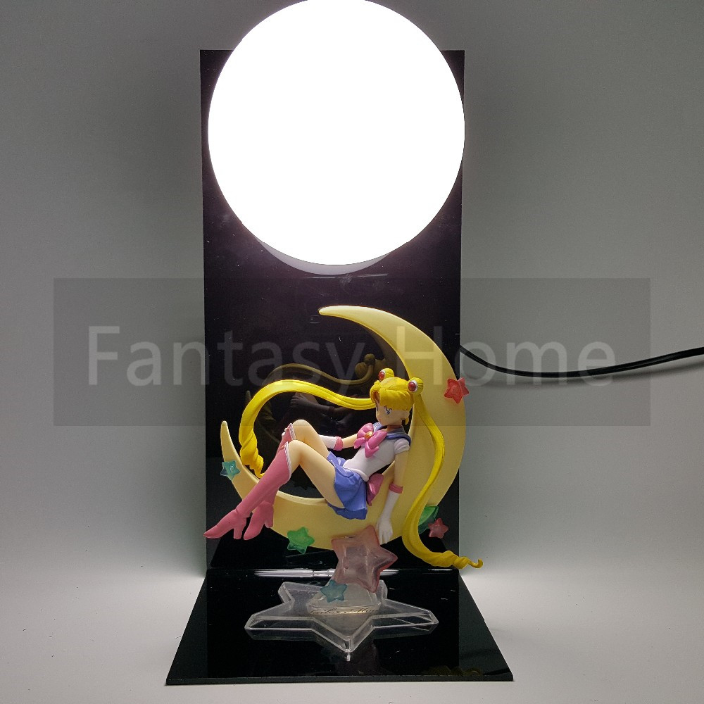Sailor Moon Action Figure Sailor Moon Tsukino Usagi DIY Display Toy Anime Sailor Moon Tsukino Usagi+Base +Bulb DIY36 6pcs set sailor moon tsukino usagi chibi usa sailor mars mercury venus jupiter kimono pvc action figure model toys 5cm kt3731