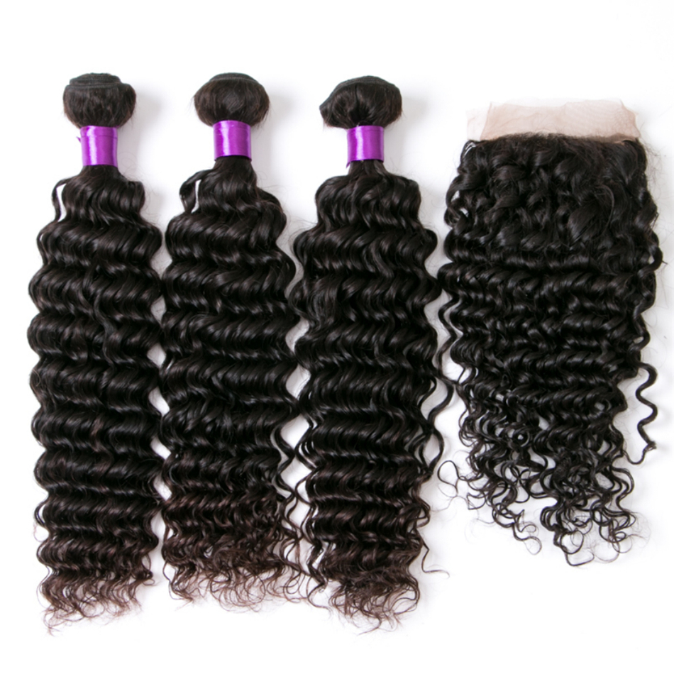 Lumiere Hair Brazilian Deep Wave Bundles With Closure 3 Bundles Human Hair Weave Bundles With 4X4
