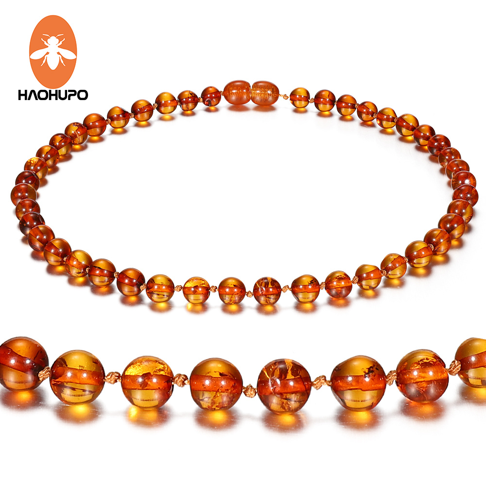 HAOHUPO 100% Genuine Amber 5 Style Polished Super Round Amber Necklace For Baby Adult Gifts Handmade Baltic Natural Jewelry