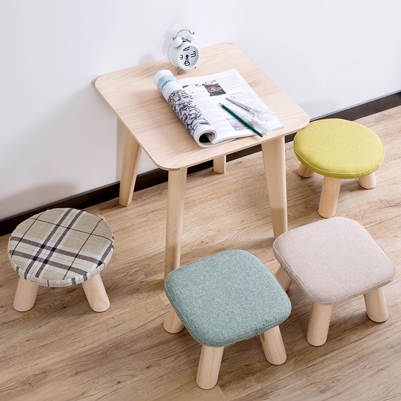 Living Room Table With Stools: Home Furniture Wooden Stools Household Thickening Tea