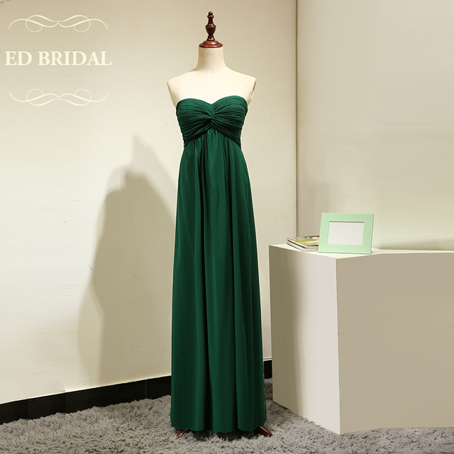 Custom Made Empire Waist Maternity Chiffon Emerald Green Bridesmaid Dresses For Pregnant Women Long Party Gown