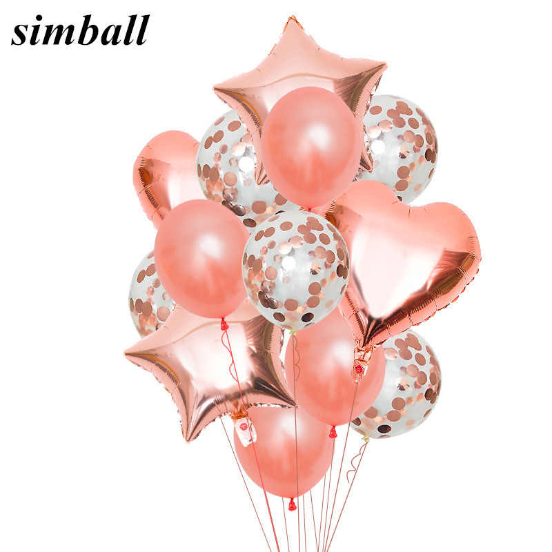 Rose Gold Star Balloon Heart Foil Balloons Wedding Decoration Latex Ballon Helium Balloon Happy Birthday Party Decoration Kids