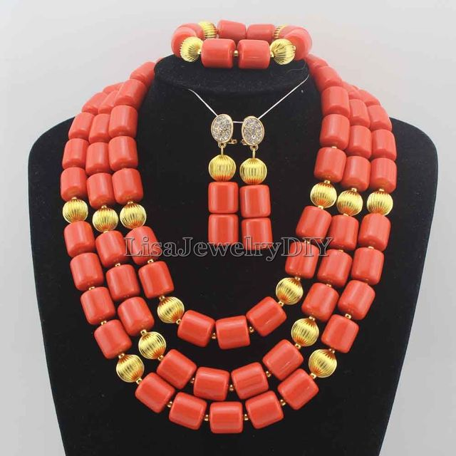 Classic Nigerian Wedding African Coral Beads Jewelry Set Costume Jewelry Sets Free Shipping HD6157