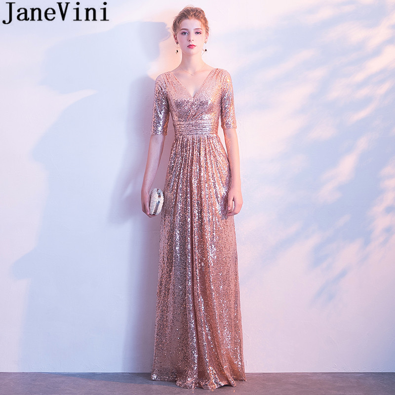 JaneVini Shiny Rose Gold Sequins   Bridesmaid     Dresses   With Sleeves Elegant V-Neck Long Wedding Party   Dress   2018 Women Formal Gowns