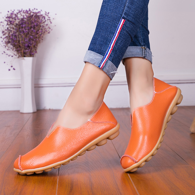 OZERSK Totem Summer Breathable Casual Shoes Loafers Sneakers Flats Woman Genuine Leather Shoes Slip On Light