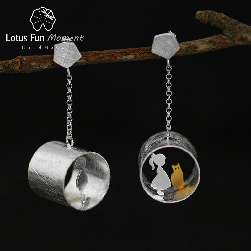 Lotus Fun Moment Real 925 Sterling Silver Handmade Fashion Jewelry Meeting Love With Cat Drop Earrings for Women Brincos