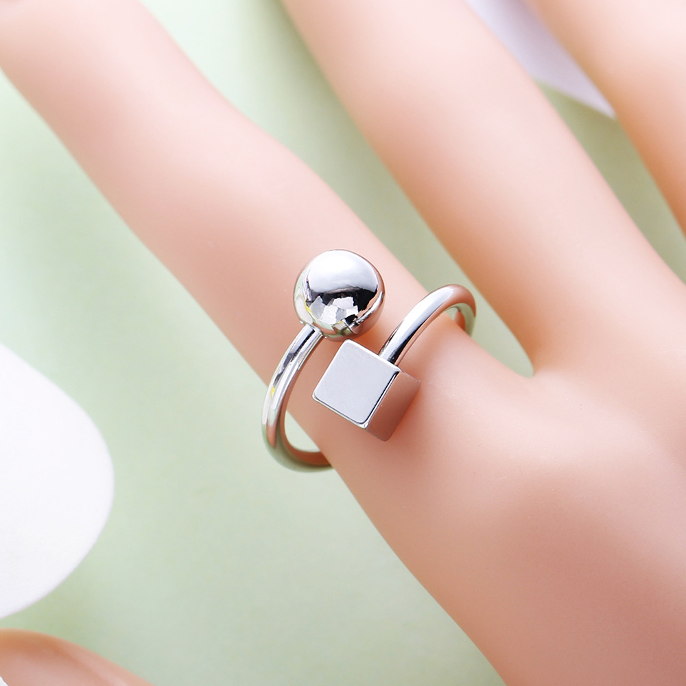 JUJIE Creative Personality Geometric Small Ball Copper Open Ring For Women Adjustable Fashion Jewellery Factory wholesale