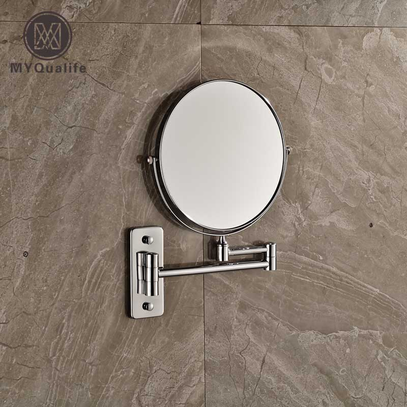 Extending Folding Double Sides Round Make Up Magnifying Mirror Home Bathroom Wall Mounted Shaving Mirror Chrome Finish silver extending 8 inches cosmetic wall mounted make up mirror shaving bathroom mirror 5x magnification