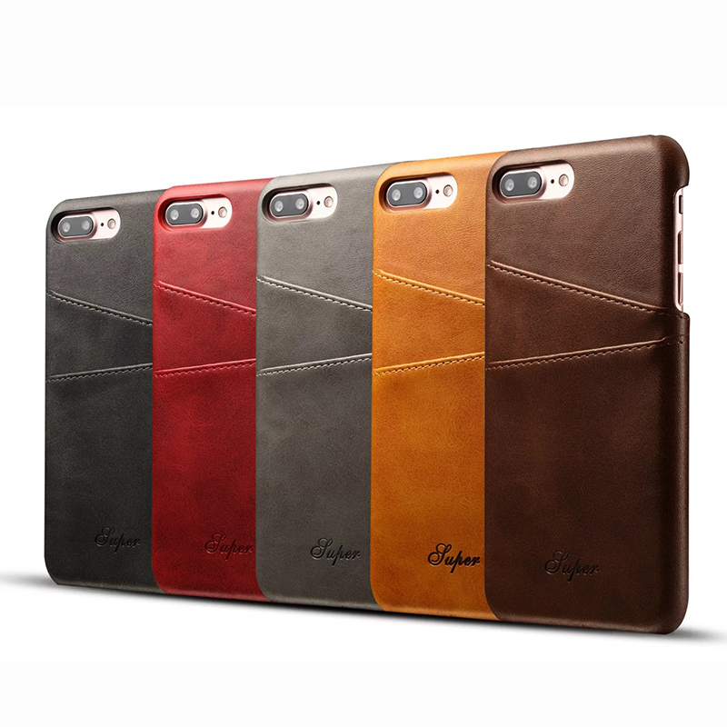 New Arrival Calf Pattern Business Style Luxury Leather Case for iPhone 6/6s/6 plus/6s plus/7/7plus Back Cover Wallet Card Slots