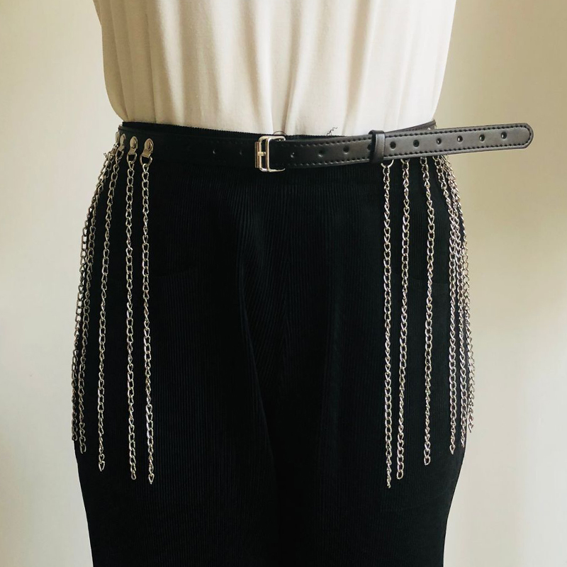Sexy Punk Metal tassel Chain waist belt for Women Black pu Leather pin buckle adjustable Chain belt Girdle Night club accessorie
