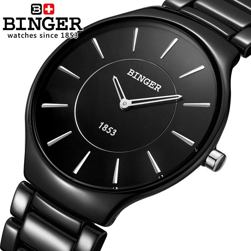 Switzerland luxury brand Male Wristwatches Binger Space Ceramic Quartz Men s watch lovers style Water Resistance