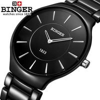 Szwajcaria luksusowej marki męskie zegarki na rękę Binger przestrzeń ceramiczne miłośników kwarcowy zegarek męski styl odporność na wodę zegar B8006B 5 w Zegarki kwarcowe od Zegarki na