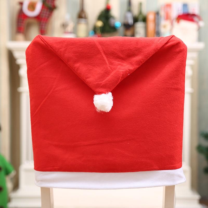2019 Weihnachtsmann Kappe Stuhlabdeckung Weihnachten Tisch Party Red - Partyartikel und Dekoration - Foto 5