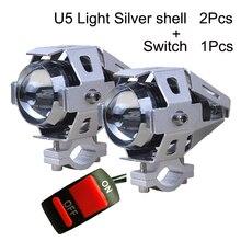 2PCS Motorcycle Headlight 12V 125W 3000LMW U5 LED Motorbike Driving Spotlight Headlamp Moto Work Spot Head Light auxiliary Lamp