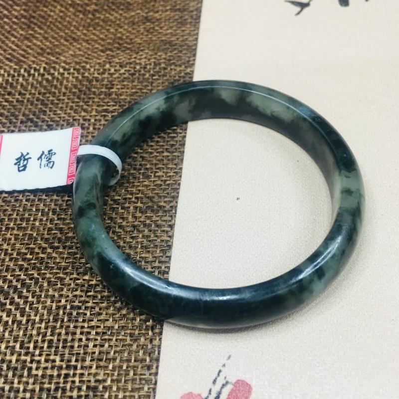 Zheru Jewelry Pure Natural Jadeite Bracelet Natural Ice Bottom Black Chicken 54 62mm Female Gift A Class A National Certificate
