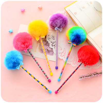 3pcs/Lot Creative Gift Colorful Fluffy Pens For Writing Kawaii Cute 0.5mm Gel Pen Blue ink Roller Ball Ballpoint Pen jinhao gift pen pure with dragon pattern metal roller ball pens luxury oriental dragon ballpoint pen for gift gel pen